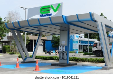 BANGKOK,THAILAND - JANUARY 25,2018: PTT EV Station the system implementation installation electric vehicle charger. This is a service with modern technology for cars that use electric drive system.