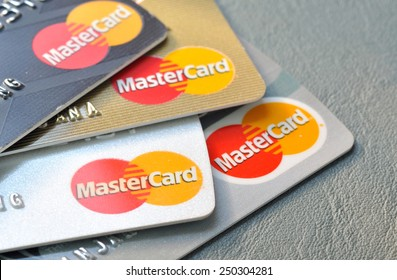 BANGKOK,THAILAND - January 28,2015:  Mastercard credit cards on leather board.