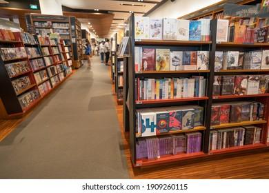 BANGKOK,THAILAND - JANUARY 30, 2021: Kinokuniya book store at Emquartier in Bangkok, Thailand.