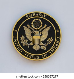 BANGKOK,THAILAND - JANUARY 5, 2016 : The USA embassy sign. The embassy is located on Wireless Road in the heart of Bangkok.