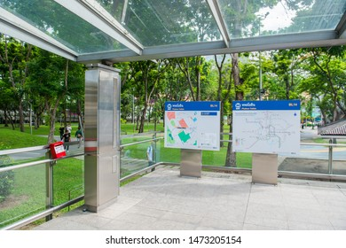 BANGKOK/THAILAND - JUL 08: In front of Phahon Yothin MRT Station, Subway System in Thailand, on July 08, 2019 in Bangkok, Thailand
