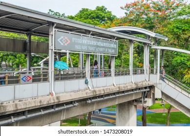 BANGKOK/THAILAND - JUL 08: Sky walk between Phahon Yothin MRT Station and Ha Yaek Lat Phrao (Lat Phrao Intersection) BTS Station in Thailand, on July 08, 2019 in Bangkok, Thailand