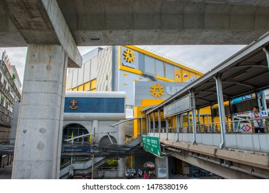 BANGKOK/THAILAND - JUL 08: Sky walk between Phahon Yothin MRT Station and Ha Yaek Lat Phrao (Lat Phrao Intersection) BTS Station with Union Mall in Thailand, on July 08, 2019 in Bangkok, Thailand