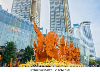 BANGKOK/THAILAND - JUL 12: Buddhist Lent with The ICONIC Candle Festival at ICONSIAM Department Store in Asarnha Bucha Day & Buddhist Lent Day on July 12, 2019 in Bangkok, Thailand