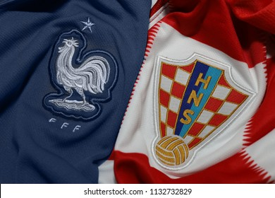 BANGKOK,THAILAND- JULY 12: France with Croatia National Football Team Logo on the Jersey on July 12,2018
