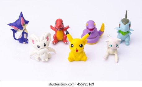 Bangkok,Thailand - July 19, 2016: Pickachu toy character from Pokemon anime. Pikachu Pokemon Collection.
