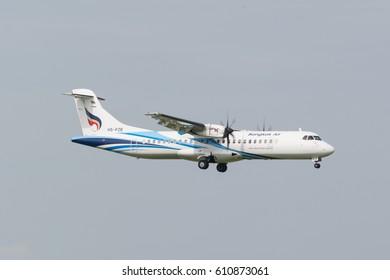 Bangkok,Thailand - JULY 2, 2016. Bangkok Airways ATR-72 (HS-PZB) landing to Suvarnabhumi Airport (Bangkok International Airport).