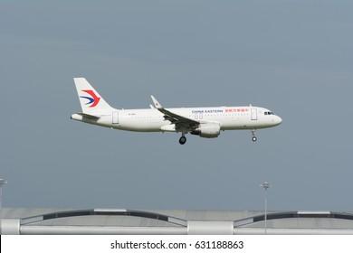 Bangkok,Thailand - JULY, 2, 2016. China Eastern Airlines Airbus A320-200 (B-1610) landing to Suvarnabhumi Airport (Bangkok International Airport).