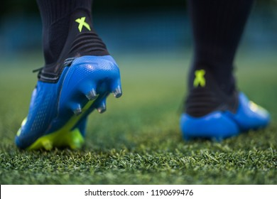 Bangkok/Thailand - July 2018 : A Football player in training with Adidas X 18, the new model football boots which design for Speedy and Agility player. Presented by Mohamed Salah, Gareth Bale, Kante.
