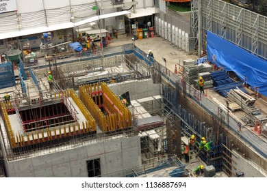 Bangkok,Thailand - July 2018 : workers working in the hotel construction site near BTS sky train station