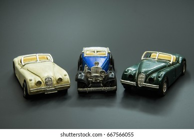 Bangkok,Thailand - July 21 2017 : Many toys car in soft box are in good position and show it's composition in Bangkok,Thailand - July 21 2017.