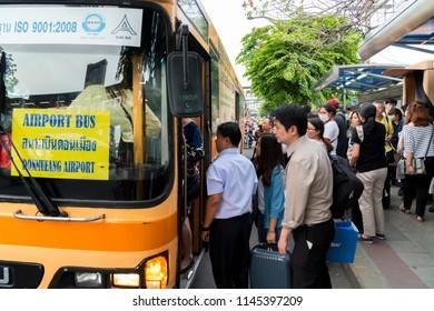 BANGKOK,THAILAND - JULY 26,2018 : Crowded bus one day before the long weekend The Buddhist Lent Day at BTS chatuchak station Phahonyothin road chatuchak Bangkok, Thailand