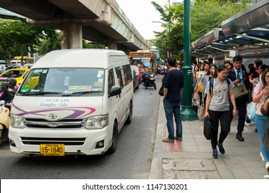BANGKOK,THAILAND - JULY 26,2018:Many people are waiting for the van and bus one day before the long weekend The Buddhist Lent Day at BTS chatuchak station Phahonyothin road chatuchak Bangkok, Thailand
