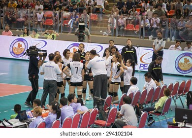 BANGKOK,THAILAND - July 3,2015: Kiattipong Radchatagriengkai head coach of Thailand in action during FIVB Volleyball World Grand Prix Bangkok 2015 at Hua Mak Sports Complex.