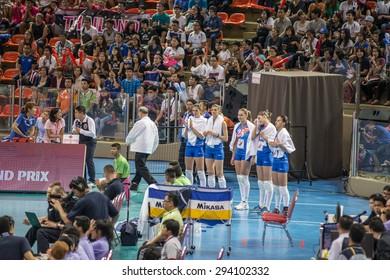BANGKOK,THAILAND - July 3,2015: Volleyball players Serbia national team in action during FIVB Volleyball World Grand Prix Bangkok 2015 at Hua Mak Sports Complex.