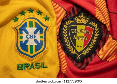 BANGKOK,THAILAND- JULY 6: Brasil with Belgium National Football Team Logo on the Jersey on July 6,2018