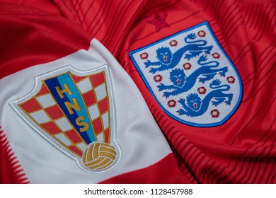 BANGKOK,THAILAND- JULY 7: Croatia with England National Football Team Logo on the Jersey on July 7,2018