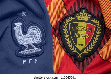 BANGKOK,THAILAND- JULY 7: France with Belgium National Football Team Logo on the Jersey on July 6,2018