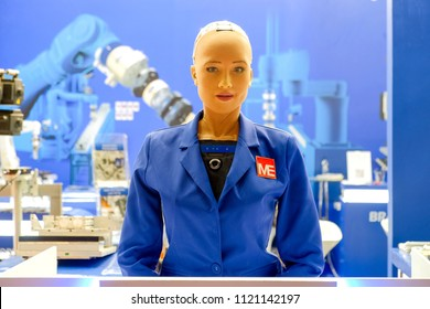 Bangkok-Thailand JUN 22 2018: Sophia robot on blue engineer shirt, she has came show in Manufacturing Expo at Bitec Bangna, Sophia is the first AI robot in the world to receive Saudi citizenship.
