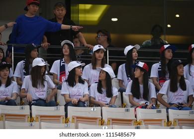 BANGKOK,THAILAND - Jun2,2018 :BNK48 artist girl group in action before friendly match between thailand against china at national stadium,thailand