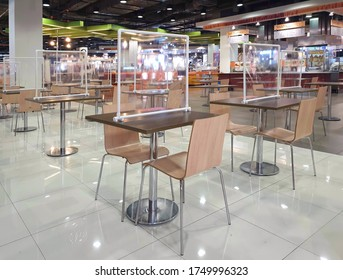 Bangkok,Thailand - June 05,2020 : The food court in Fashion Island Department Store, Ramintra Road, has established a social distancing measure to prevent the outbreak of the covid 19 virus