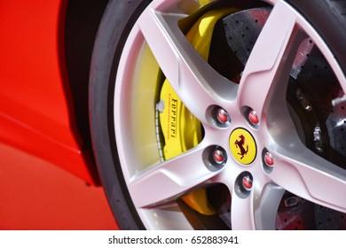 Bangkok,Thailand - JUNE 1, 2017 : Close-up Wheel of ferrari on the sport car.Italian week 2017 at Central World Shopping Mall in Bangkok