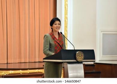 BANGKOK,THAILAND- JUNE 12: Thailand's prime minister Yingluck Shinawatra speak on the podium at Thai Koo Fah Building on June 12, 2013; Bangkok, Thailand