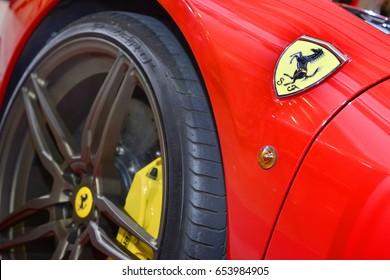 Bangkok,Thailand - JUNE 1,2017 : logo of ferrari on the sport car.Italian week 2017 at Central World Shopping Mall. Ferrari S.P.A. is an Italian luxury sports car manufacturer. Founded by Enzo Ferrari