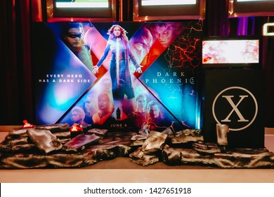 Bangkok,Thailand – June 15, 2019:Advertising decoration for the movie called X-Men Dark Phoenix and displays at the cinema to promote the movie