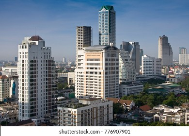 BANGKOK,THAILAND -JUNE 19, 2017:Skyline of Bangkok with the river Chao Praya, Bangkok, Thailand, Asia