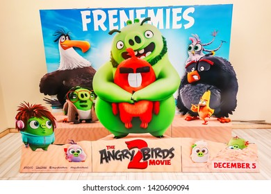 Bangkok,Thailand – June  2, 2019:Advertising decoration for the movie Angry Birds 2 of a computer-animated comedy film based on Rovio Entertainment's Angry Birds video game series.