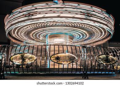 BANGKOK/THAILAND - June 22 2018 : Carousel long exposure at Asiatique.