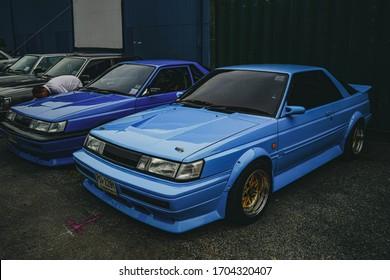 Bangkok,Thailand - June 23 , 2020 : View of blue sport car.