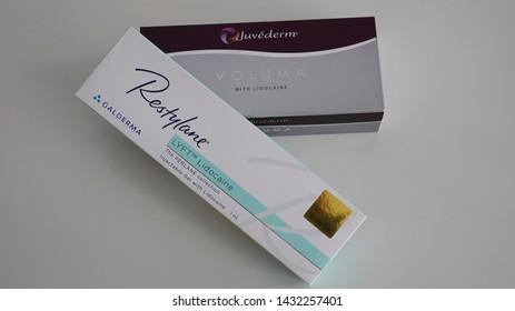 Bangkok,Thailand June 24 2019 : Filler box Product of Juvederm and Restylane