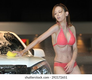 Bangkokthailand June 27 Japanese Av Actress Misaki Rola Show Sexy Car Wash