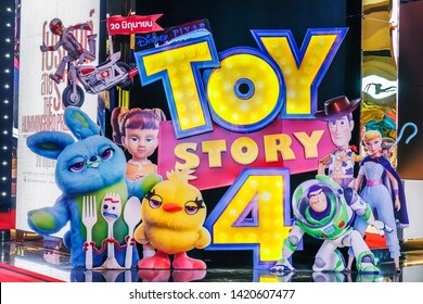 Bangkok,Thailand – June  8, 2019:Advertising decoration for the movie Toy Story 4 and displays at the cinema