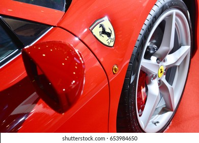 Bangkok,Thailand - JUNE1, 2017 : Logo of ferrari on the sport car.Italian week 2017 at Central World Shopping Mall. Ferrari S.P.A. is an Italian luxury sports car manufacturer. Founded by Enzo Ferrari