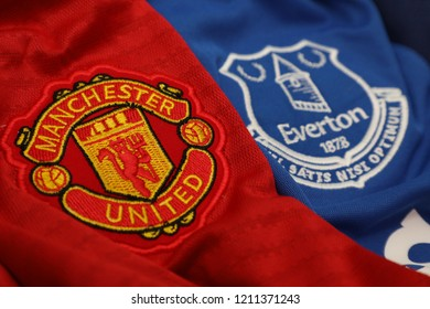 BANGKOK,THAILAND- The Logo of Manchester United and Everton on Football Jerseys.Both of them will face each other in EPL this weekend  on October 24,2018.