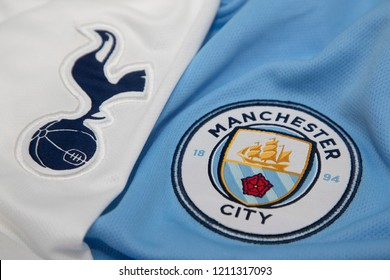 BANGKOK,THAILAND- The Logo of Tottenham Hotspur and Manchester City on Football Jerseys.Both of them will face each other in EPL this weekend  on October 24,2018.