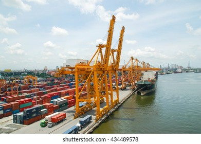 Bangkok,Thailand - Mar 14, 2006: the Port Authority of Thailand. With a cargo ship to harbor cranes loading containers
