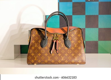 Bangkok-Thailand MAR 17 2016: Louis Vuitton bag in a showcase, Louis Vuitton  (LV) shop, Siam Paragon shopping mall