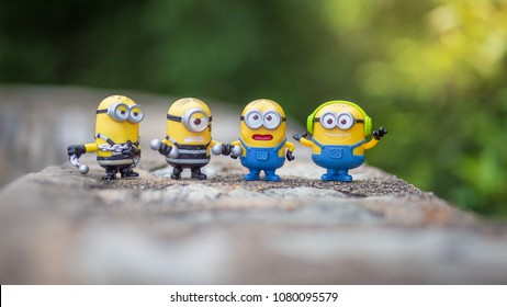 Bangkok,Thailand - Mar, 2018: Minions toy on the floor blurred background from Minions 2018 film produced by Universal Pictures. toy collection in marketing campaign from Tesco Lotus Express