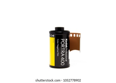 BANGKOK-THAILAND, MAR 21, 2018 : Photograph of a roll of Kodak Portra 400 the professional 135 negative film on the white background.
