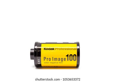 BANGKOK-THAILAND, MAR 25, 2018 : Photograph of a roll of Kodak Pro Image 100 the professional 135 color negative film on the white background.