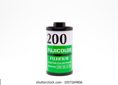 BANGKOK-THAILAND, MAR 25, 2018 : Photograph of a roll of Fuji Color 200 the professional 135 black and white negative film on the white background.