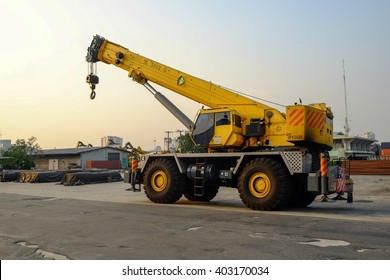 Bangkok-Thailand Mar 26 2016: Klong Toey Port In charge of the Port Authority of Thailand.Mobile crane The vehicle industry in the Klong toey Pier is responsible for transport of the container.