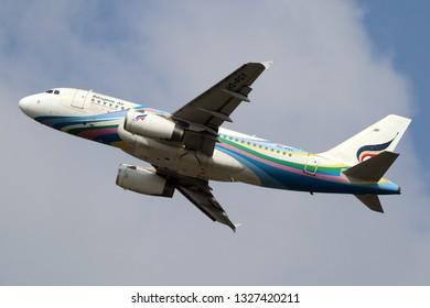 BANGKOK/THAILAND - March 02 2019 -  Bangkok airways Airbus a320-200 take off from Suvarnabhumi Airport BKK VTBS