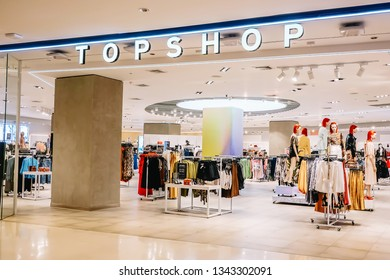 Bangkok-Thailand March 17 2019: Interior TOP SHOP store on Central world with customer choose product, TOPSHOP is a global fashion brand from the UK. Open branch in Thailand.