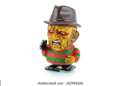 Bangkok,Thailand - March 19, 2015: Freddy Krueger wind up toy characters from a nightmare on elm street series. Freddy who uses a glove armed with razors to kill his victims in their dreams.