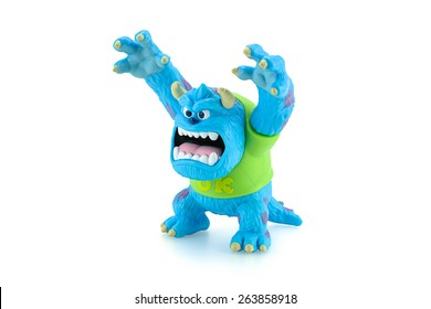 Bangkok,Thailand - March 19, 2015: Scarer James P. Sullivan Sulley figure toy character from Monsters University animation movie by Disney Pixar animation studio.